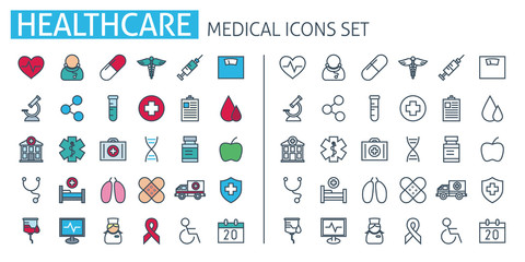 healthcare poster. Medical icons set. Thin line web symbols outline flat style for mobile app