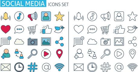 social media icons set. Thin line web symbols outline flat style for mobile app, communication