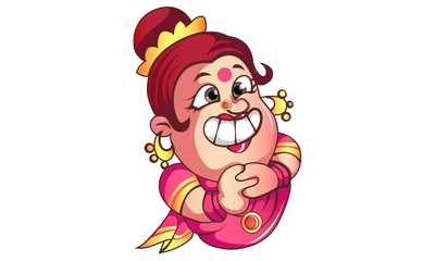 Vector cartoon illustration of iyer aunty ji funny teeth . Isolated on white background.