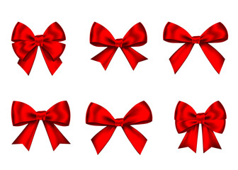Red  gift  bows set  for  Christmas, New Year decoration.