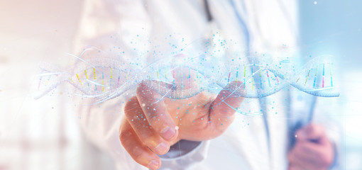 Doctor holding a 3d render DNA