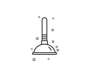 Cleaning plunger line icon. Ð¡leaning of pipe clogs symbol. Housekeeping equipment sign. Geometric shapes. Random cross elements. Linear Plunger icon design. Vector