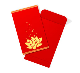Red chinese envelope with lotus. 3D Illustration.