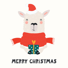 Hand drawn card with cute funny llama in a Santa Claus hat, scarf, holding present, text Merry Christmas. Vector illustration. Scandinavian style flat design. Concept for invite, children print.