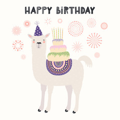 Hand drawn card with cute llama in a party hat, carrying cake with candles, fireworks, text Happy birthday. Vector illustration. Scandinavian style flat design. Concept for invite, children print.