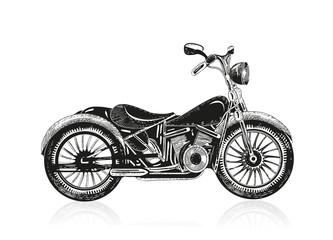 gezeichnetes schwarzes Motorrad auf weißem Grund