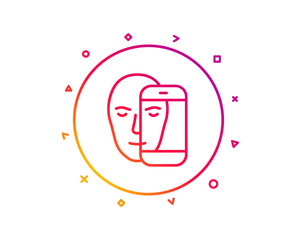 Face biometrics line icon. Facial recognition by phone sign. Head scanning symbol. Gradient pattern line button. Face biometrics icon design. Geometric shapes. Vector