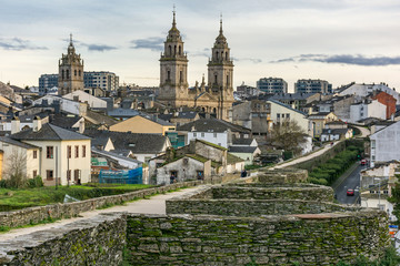 View of the Cathedral and the Wall of Lugo declared World Heritage by Unesco (Galicia, Spain) Wall mural