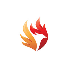 Fire bird phoenix logo design, falcon, eagle, hawk and wing vector icon