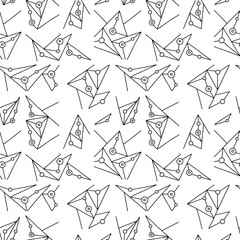 Seamless vector pattern, black and white lined asymmetric geometric background with lines, dots. Print for decor, wallpaper, packaging, wrapping, fabric. Triangular graphic design. Line drawing