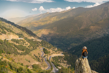 French Pyrenees, hiker on viewpoint