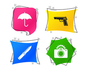 Gun weapon icon.Knife, umbrella and photo camera with flash signs. Edged hunting equipment. Prohibition objects. Geometric colorful tags. Banners with flat icons. Trendy design. Vector