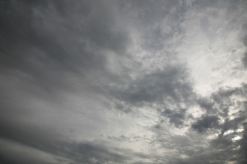 The sun's rays illuminate the sky with clouds. We see the background of the sky of natural color as in the picture. This image of a beautiful sky and white clouds pleases all people.