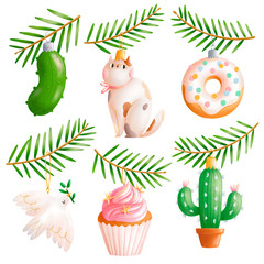 Awesome christmas tree toys isolated illustrations