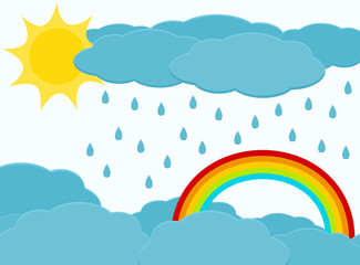 Sky with sun, cloud, rain and rainbow. Cartoon rainy sky background.