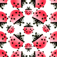 pattern with beautiful red ladybugs