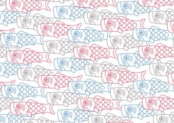 泳ぐ鯉のぼり一家【横サイズ】シンプル線画