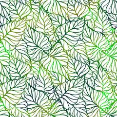 Green fresh leaves vector seamless pattern. Vibrant background.