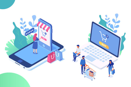 Online shopping, online ordering system isometric concept. Electronic commerce concept with people. Isometric People with phone and laptop. Big Sale. Modern design vector illustration.
