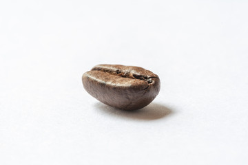 Roasted coffee bean isolated on white close-up view
