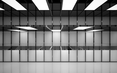Abstract white and black interior multilevel public space with neon lighting. 3D illustration and rendering.