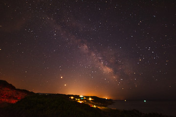 Milky way over Sardinia shoreline at night