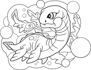 cartoon cute little plesiosaurus, coloring book, funny illustration