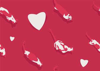 Valentines Day Siamese Cat Seamless Love Pattern