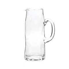 glass water carafe on white background