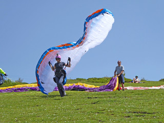 Fototapete - Paraglider launching wing