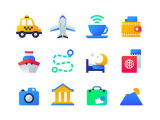 Travel and holiday - set of flat design style icons
