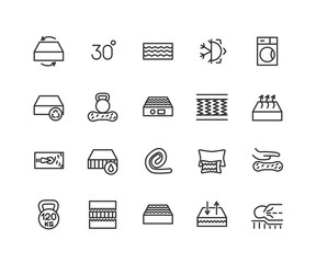 Mattress linear icons set. Latex, innerspring and memory foam mattresses. Isolated vector outline illustrations. Editable stroke 48x48 Pixel Perfect.
