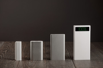 Row of different power banks