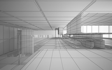 Abstract drawing white interior multilevel public space with window. 3D illustration and rendering.