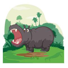 Wild animal Hippopotamus in jungle forest background