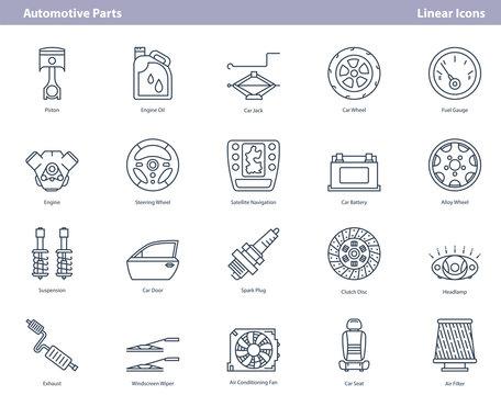 Vector car automotive parts - outline icons set