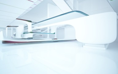 White smooth abstract architectural background whith colored gradient lines . 3D illustration and rendering