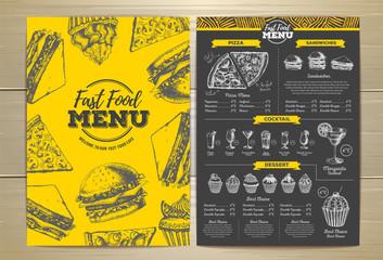 Vintage fast food menu design. Sandwich sketch