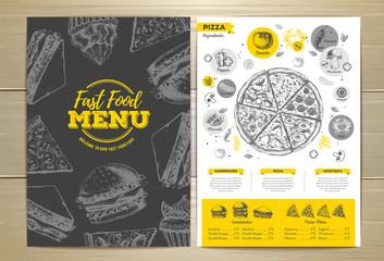 Vintage pizza menu design.