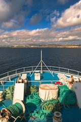 Traveling on ferry to Gozo Island, Malta