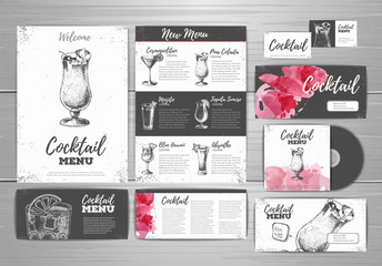 Cocktail menu document template. Corporate identity