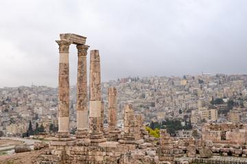 Amman Citadel under rainy day