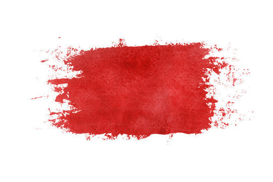 Dark red watercolor grungy brush strokes painted on white background.
