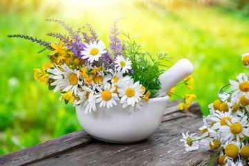 Mortar of medicinal herbs and daisy healing herbs bunch outdoors.