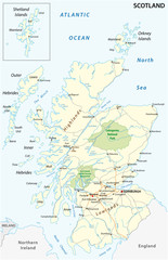 High detailed Scotland road and nationalpark map with labeling