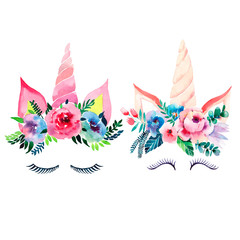 Bright beautiful spring lovely cute fairy magical colorful pattern of unicorns with eyelashes in...