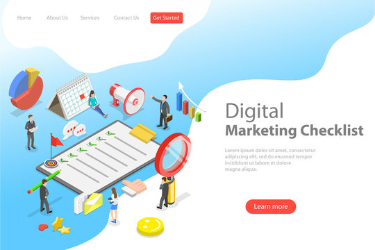 Isometric flat vector landing page template of marketing checklist, digital marketing, internet advertising campaign.