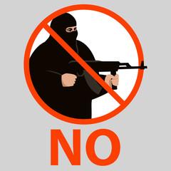 sign no terrorism,vector illustration,flat