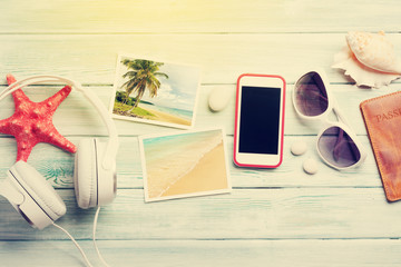 Travel vacation and music concept