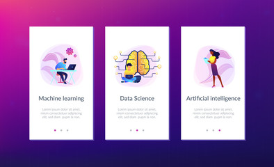 Big brain with circuit and programmers. Artificial intelligence, machine learning and data science, cognitive computing concept on white background. Mobile UI UX GUI template, app interface wireframe